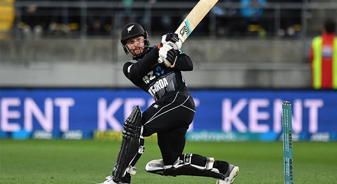 New Zealand's Tim Seifert plays a shot during the first Twenty20 cricket match between New Zealand and India in Wellington on February 6, 2019. (Photo by Marty MELVILLE / AFP)