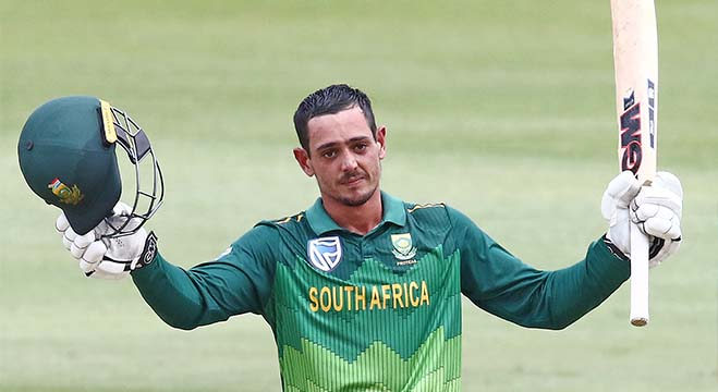 South Africa's Quinton de Kock celebrates after scoring a century (100 runs) during the third one day international(ODI) cricket match between South Africa and Sri Lanka at The Kingsmead Cricket Stadium in Durban on March 10, 2019. (Photo by Anesh Debiky / AFP)